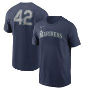 Wholesale Cheap Seattle Mariners Nike Jackie Robinson Day Team 42 T-Shirt Navy