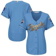 Wholesale Cheap Royals Blank Light Blue Women's 2015 World Series Champions Gold Program Cool Base Stitched MLB Jersey