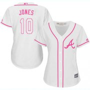 Wholesale Cheap Braves #10 Chipper Jones White/Pink Fashion Women's Stitched MLB Jersey