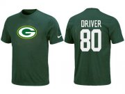 Wholesale Cheap Nike Green Bay Packers #80 Donald Driver Name & Number NFL T-Shirt Green