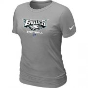 Wholesale Cheap Women's Nike Philadelphia Eagles Critical Victory NFL T-Shirt Light Grey