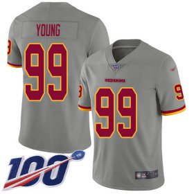 Wholesale Cheap Nike Redskins #99 Chase Young Gray Youth Stitched NFL Limited Inverted Legend 100th Season Jersey