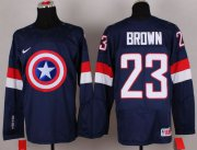 Wholesale Cheap Olympic Team USA #23 Dustin Brown Navy Blue Captain America Fashion Stitched NHL Jersey