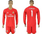 Wholesale Cheap Real Madrid #1 I.Casillas Red Goalkeeper Long Sleeves Soccer Club Jersey