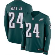 Wholesale Cheap Nike Eagles #24 Darius Slay Jr Green Team Color Men's Stitched NFL Limited Therma Long Sleeve Jersey