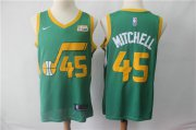 Wholesale Cheap Men's Utah Jazz 45 Donovan Mitchell Nike Green 2018-19 Swingman Earned Edition Jersey - Earned Edition