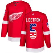 Wholesale Cheap Adidas Red Wings #5 Nicklas Lidstrom Red Home Authentic USA Flag Stitched NHL Jersey