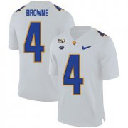 Wholesale Cheap Pittsburgh Panthers 4 Max Browne White 150th Anniversary Patch Nike College Football Jersey
