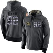 Wholesale Cheap NFL Men's Nike Green Bay Packers #92 Reggie White Stitched Black Anthracite Salute to Service Player Performance Hoodie