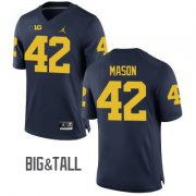 Wholesale Cheap Men's Michigan Wolverines #42 Ben Mason Blue Big&Tall Performance Jersey