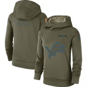Wholesale Cheap Women's Detroit Lions Nike Olive Salute to Service Sideline Therma Performance Pullover Hoodie