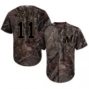 Wholesale Cheap Brewers #11 Mike Moustakas Camo Realtree Collection Cool Base Stitched MLB Jersey