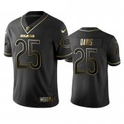 Wholesale Cheap Nike Bears #25 Mike Davis Black Golden Limited Edition Stitched NFL Jersey