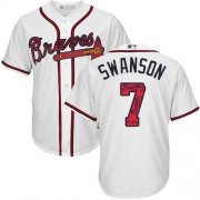 Wholesale Cheap Braves #7 Dansby Swanson White Team Logo Fashion Stitched MLB Jersey