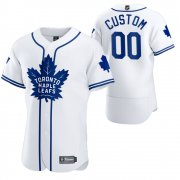 Wholesale Cheap Toronto Maple Leafs Custom Men's 2020 NHL x MLB Crossover Edition Baseball Jersey White