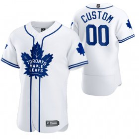 Wholesale Cheap Toronto Maple Leafs Custom Men\'s 2020 NHL x MLB Crossover Edition Baseball Jersey White