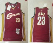 Wholesale Cheap Men's Cleveland Cavaliers #23 LeBron James 2003-04 Burgundy Red Hardwood Classics Soul Swingman Throwback Jersey