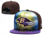 Wholesale Cheap Ravens Team Logo Brown Purple Adjustable Leather Hat TX