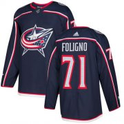 Wholesale Cheap Adidas Blue Jackets #71 Nick Foligno Navy Blue Home Authentic Stitched Youth NHL Jersey