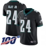 Wholesale Cheap Nike Eagles #24 Darius Slay Jr Black Alternate Youth Stitched NFL 100th Season Vapor Untouchable Limited Jersey