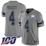 Wholesale Cheap Nike Cowboys #4 Dak Prescott Gray Men's Stitched With Established In 1960 Patch NFL Limited Inverted Legend 100th Season Jersey