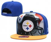 Wholesale Cheap Steelers Team Logo Blue Yellow Adjustable Leather Hat TX