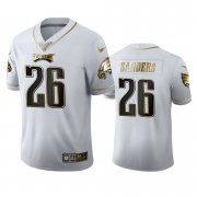 Wholesale Cheap Philadelphia Eagles #26 Miles Sanders Men's Nike White Golden Edition Vapor Limited NFL 100 Jersey
