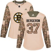 Wholesale Cheap Adidas Bruins #37 Patrice Bergeron Camo Authentic 2017 Veterans Day Women's Stitched NHL Jersey
