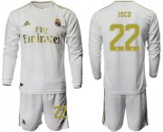 Wholesale Cheap Real Madrid #22 Isco White Home Long Sleeves Soccer Club Jersey