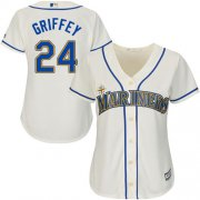 Wholesale Cheap Mariners #24 Ken Griffey Cream Alternate Women's Stitched MLB Jersey
