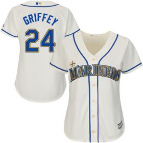 Wholesale Cheap Mariners #24 Ken Griffey Cream Alternate Women\'s Stitched MLB Jersey