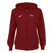 Wholesale Cheap Nike Baltimore Ravens Ladies Tailgater Full Zip Hoodie Red