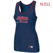 Wholesale Cheap Women's Nike Cleveland Indians Tri-Blend Racerback Stretch Tank Top Blue
