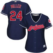 Wholesale Cheap Indians #24 Andrew Miller Navy Blue Women's Alternate Stitched MLB Jersey