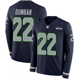 Wholesale Cheap Nike Seahawks #22 Quinton Dunbar Steel Blue Team Color Men\'s Stitched NFL Limited Therma Long Sleeve Jersey