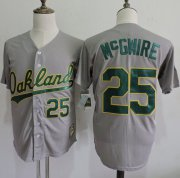 Wholesale Cheap Mitchell And Ness Athletics #25 Mark McGwire Grey Throwback Stitched MLB Jersey