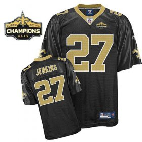 Wholesale Cheap Saints #27 Malcolm Jenkins Black Super Bowl XLIV 44 Champions Stitched NFL Jersey