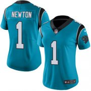 Wholesale Cheap Nike Panthers #1 Cam Newton Blue Women's Stitched NFL Limited Rush Jersey