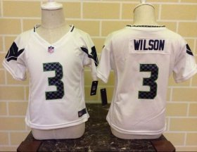 Wholesale Cheap Toddler Nike Seahawks #3 Russell Wilson White Stitched NFL Elite Jersey