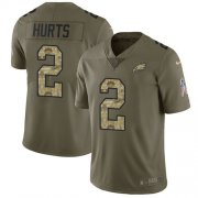 Wholesale Cheap Nike Eagles #2 Jalen Hurts Olive/Camo Youth Stitched NFL Limited 2017 Salute To Service Jersey