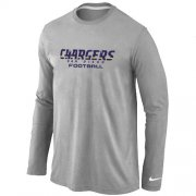 Wholesale Cheap Nike Los Angeles Chargers Authentic Font Long Sleeve T-Shirt Grey