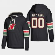 Wholesale Cheap New Jersey Devils Personalized Lace-Up Pullover Hoodie Black
