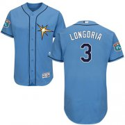 Wholesale Cheap Rays #3 Evan Longoria Light Blue Flexbase Authentic Collection Stitched MLB Jersey