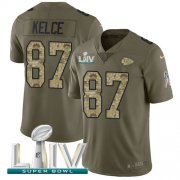 Wholesale Cheap Nike Chiefs #87 Travis Kelce Olive/Camo Super Bowl LIV 2020 Men's Stitched NFL Limited 2017 Salute To Service Jersey