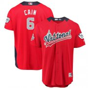 Wholesale Cheap Brewers #6 Lorenzo Cain Red 2018 All-Star National League Stitched MLB Jersey