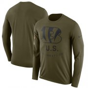 Wholesale Cheap Men's Cincinnati Bengals Nike Olive Salute to Service Sideline Legend Performance Long Sleeve T-Shirt