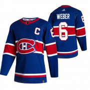 Wholesale Cheap Montreal Canadiens #6 Shea Weber Blue Men's Adidas 2020-21 Reverse Retro Alternate NHL Jersey