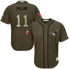 Wholesale Cheap Blue Jays #11 Kevin Pillar Green Salute to Service Stitched Youth MLB Jersey