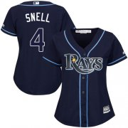 Wholesale Cheap Rays #4 Blake Snell Dark Blue Alternate Women's Stitched MLB Jersey