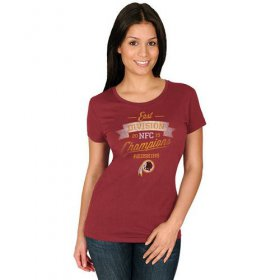 Wholesale Cheap Women\'s Washington Redskins Majestic Burgundy 2015 NFC East Division Champions T-Shirt